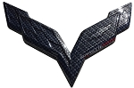 C7 Corvette Stingray/Z06/Grand Sport 2014-2019 Hydro Carbon Fiber Crossed Flags Emblem - Front/Rear
