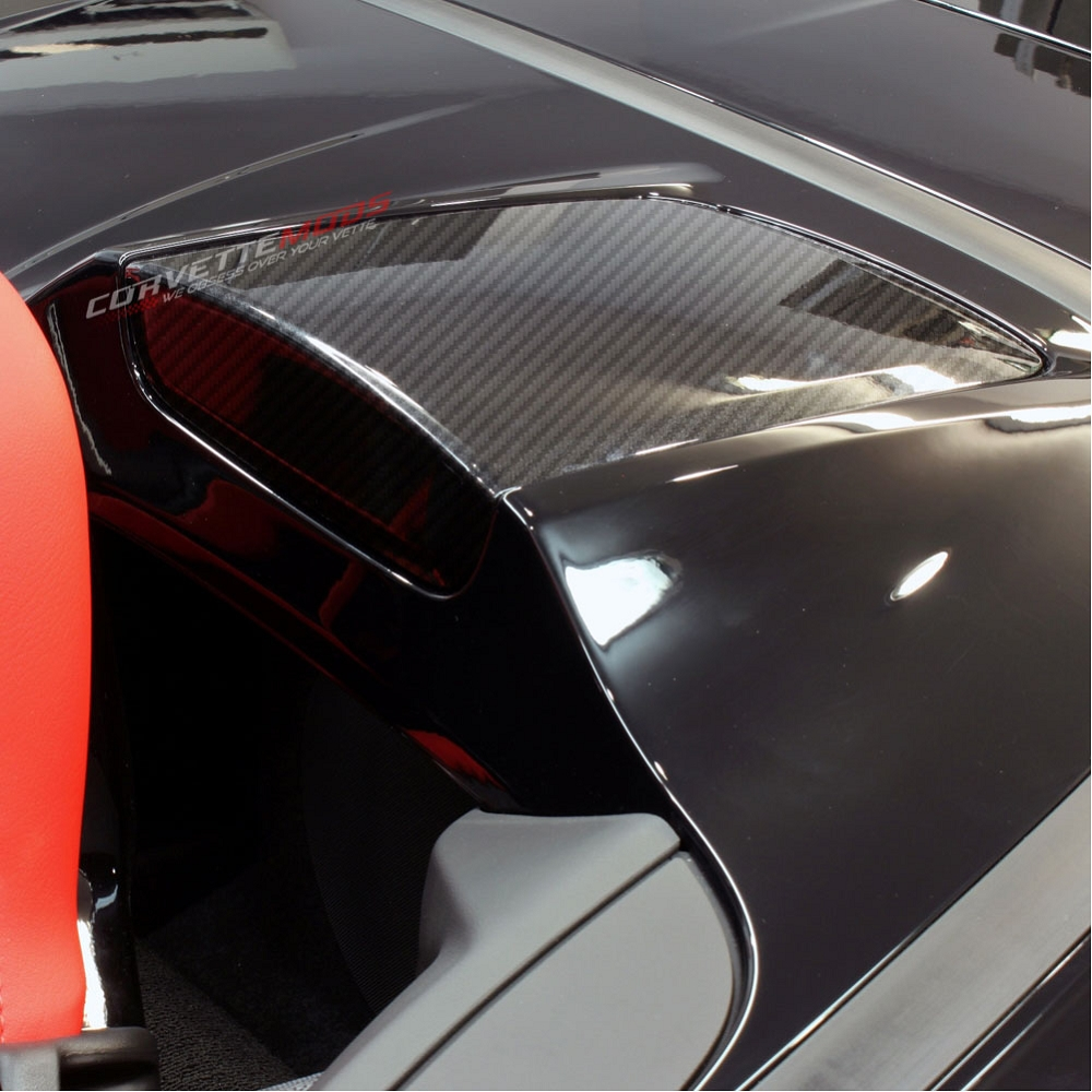 C7 Corvette Stingray/Z06/Grand Sport 2014-2019 Hydro Carbon Fiber Convertible Accent Trim Panels - Pair