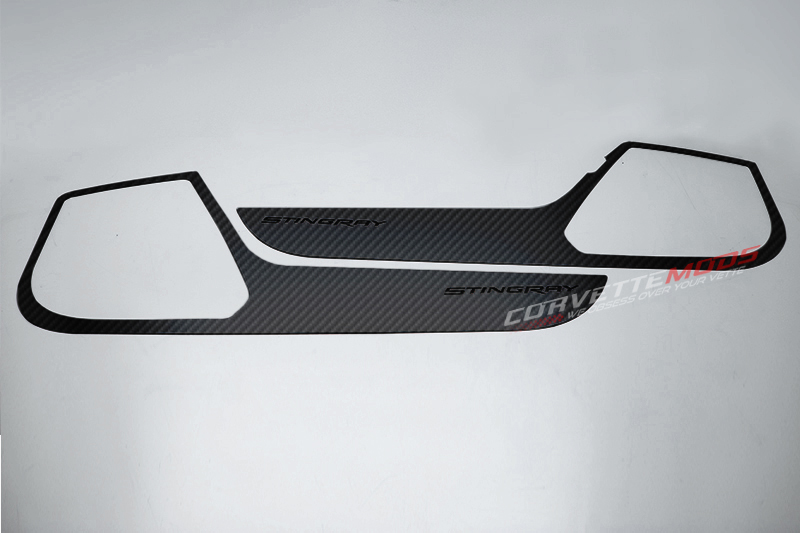 C7 Corvette Stingray 2014-2019 Hydro Carbon Fiber Door Guards w/ Stingray Lettering - 2Pc