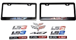 C6 Corvette 2005-2013 Black/Chrome License Plate Frames With Stamped Aluminum Emblems