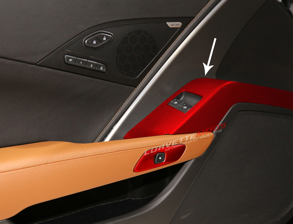 C7 Corvette Stingray/Z06/Grand Sport 2014-2019 Custom Painted Drivers Door Panel Bezel - Window Buttons