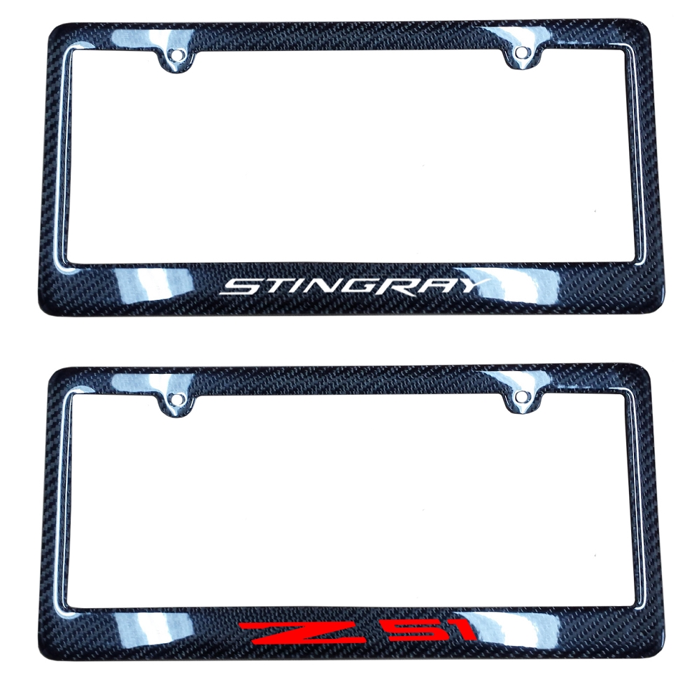 C7 Corvette 2014+ Carbon Fiber License Plate Frames - W/ Vinyl Decal ...