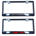 C7 Corvette 2014-2019 Carbon Fiber License Plate Frames - w/ Vinyl Decal