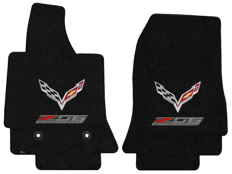 C7 Corvette Z06 2015-2019 Lloyd Ultimat Crossed Flags/Z06 Supercharged Floor Mats