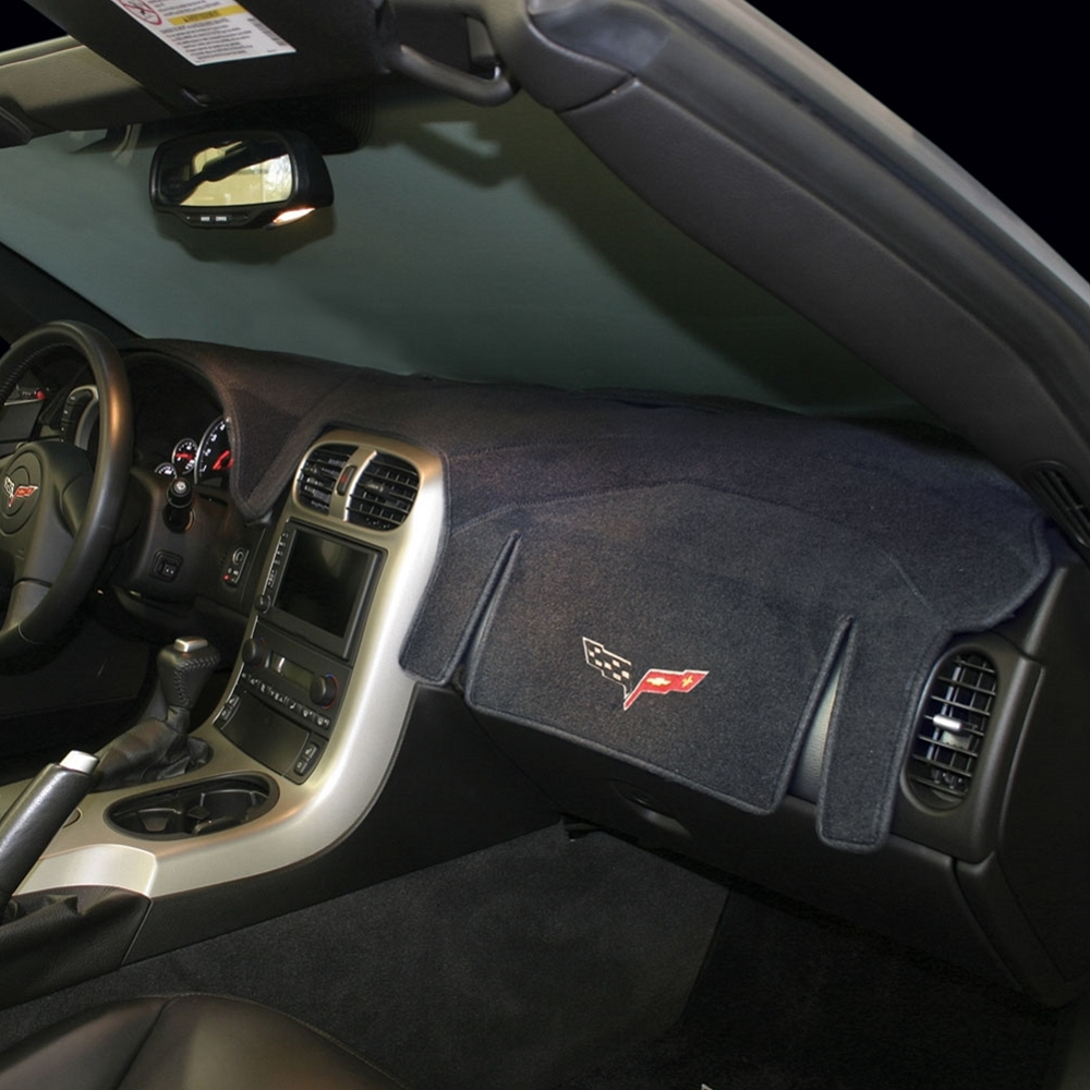 C6 Corvette 2005 2013 Embroidered Dash Mat Black With C6