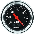 Autometer 2-1/16 Vacuum Gauge 0-30 IN HG - Chrome