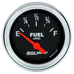 Autometer 2-1/16 inch Fuel Level Gauge 240-33 AMP SSE - Chrome
