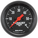 Autometer 2-1/16 inch Exhaust Pressure Gauge 0-60 PSI Z-Series