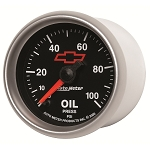 Autometer 2-1/16 inch Oil Pressure Gauge 0-100 PSI - Stepper Motor GM Black w/ Bowtie Logo