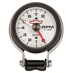 Autometer 3 3/4 inch Pedestal Tachometer 0-8000 RPM - GM White w/ Chevy Bowtie Logo on Face