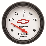Autometer 2-5/8 inch Fuel Level Gauge 0-90 ohm Electronic - GM White w/ Bowtie Logo