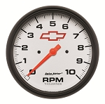 Autometer 5 inch In-Dash Tachometer 0-10000 RPM - GM White w/ Bowtie Logo