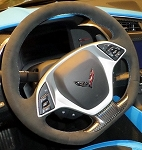 C7 Corvette Stingray/Z06/Grand Sport 2014-2019 Manual Black Suede Flat Bottom Steering Wheel w/ Tension Blue Stitching & GS Cap