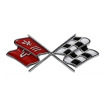 C2 Corvette 1967 Crossed Flags Front End Panel Emblem - Correct Maroon/Dark Red or Red Orange Color - OE Correct