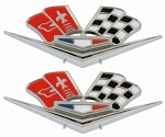 C2 Corvette 1963L-1966 Crossed Flags Front Fender Badges - Pair