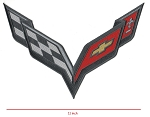 C7 Corvette Stingray/Z06/Grand Sport 2014-2019 Embroidered Carbon Flash Crossed Flags Patch - 11 Inch - Sold Individually