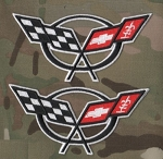 C5 Corvette 1997-2004 Embroidered Crossed Flags Patch - White Cut Out - 4.25 Inch - Pair