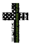Back Our Heroes Tattered American Flag Cross Decal - Police, Firefighter/EMT, Military Options