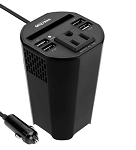 Cup Holder Power Inverter/Converter Adapter w/ 4 USB Charger Ports, 1 AC Outlet, and Storage Slot