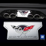 C5 Corvette Base/Z06 1997-2004 Exhaust Plate - Billet Chrome with 2004 Commemorative Edition Logo