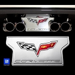 C6 Corvette 2005-2013 Non-NPP Exhaust Plate - Billet Chrome with Crossed Flags Logo