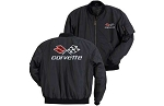 C3 Corvette 1968-1982 Black Aviator Jacket w/ Cross Flags