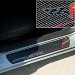 C6 Corvette 2005-2013 Door Sill Guards Carbon Fiber - Flag Logo