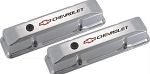 C3 Corvette 1968-1982 Proform Small Block Aluminum Polished Valve Covers - Tall - Chevrolet & Bowtie Colored