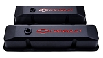 C3 Corvette 1968-1982 Proform Small Block Black Crinkle Valve Covers - Tall - Red Chevrolet & Bowtie