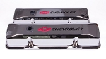 C3 Corvette 1968-1982 Proform Small Block Chrome Valve Covers - Tall - Chevrolet & Bowtie Inlaid