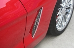 C6 Corvette 2005-2013 Stainless Steel Laser Mesh Side Grilles - Polished