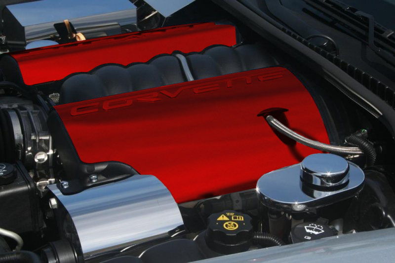 C6 Corvette 2005-2013 LS2/LS3 Fuel Rail Covers Custom Painted With Corvette Script