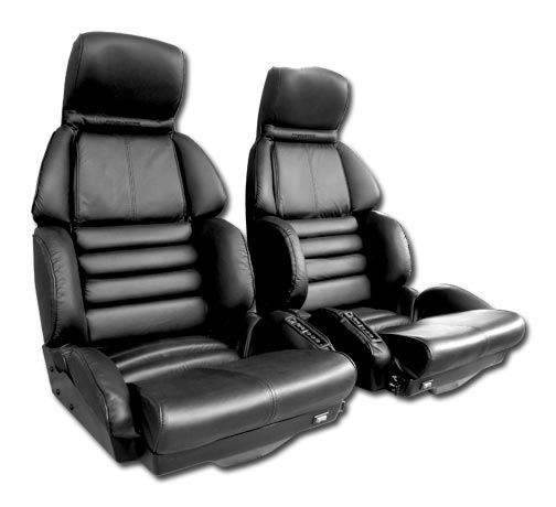 C4 Corvette 1984-1996 DRIVER Black Leather Seat Covers - Pair - Mounted Optional