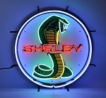 Ford Mustang Shelby Cobra Circle Neon Sign W/ Backing