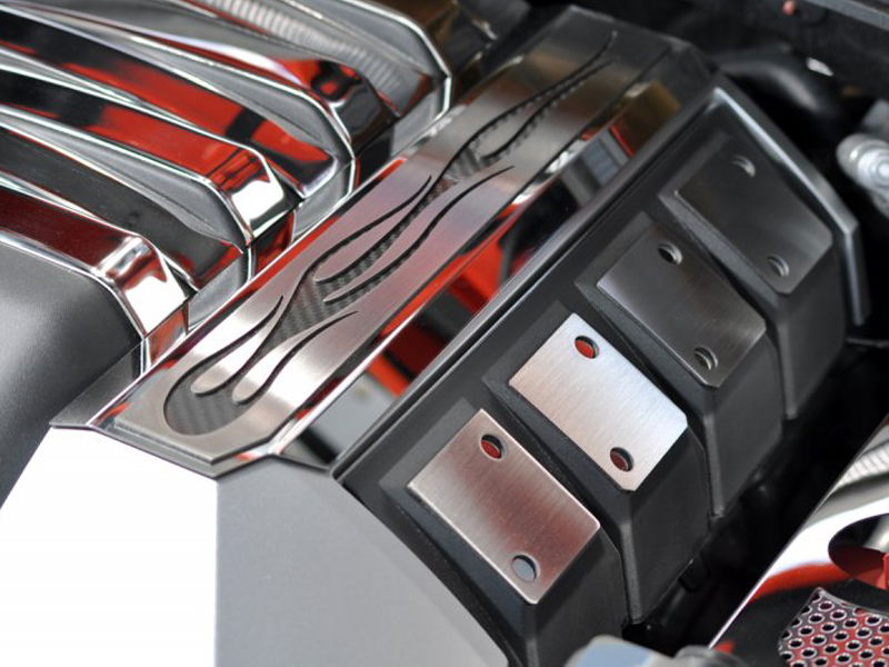 Gen 5 Camaro SS 2010-2015 Polished Fuel Rail Covers w/ Carbon Fiber True Flame