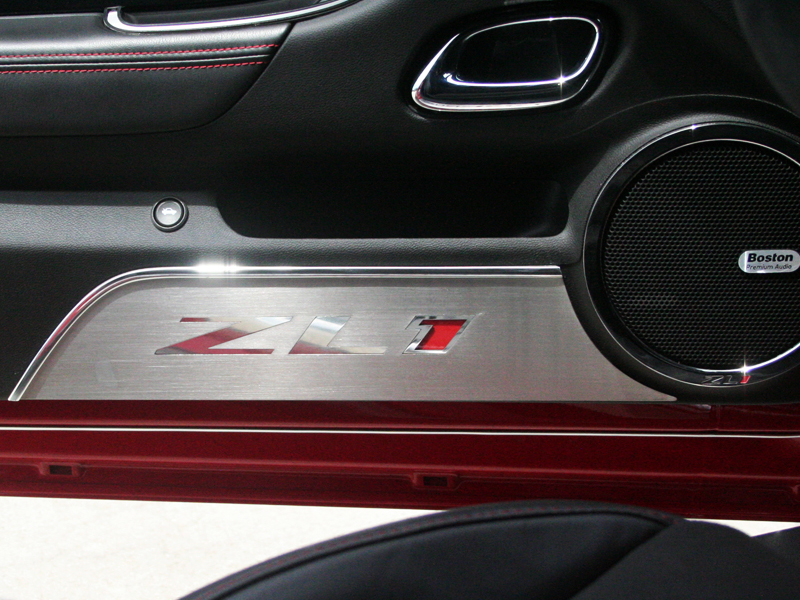 Gen 5 Camaro 2012-2015 Brushed Door Panel Kick Plates w/ ZL1 Script - 2pc