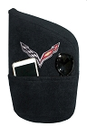 C5 C6 C7 Corvette 1997-2019 Seat Armour Console Covers - Black w/ Embroidered Crossed Flags