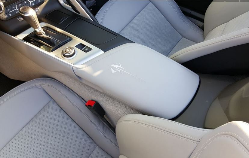 C7 Corvette Stingray 2014-2019 GM Leather Console Lid Assembly - Embroidered Stingray Logo