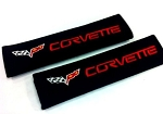 C6 Corvette 2005-2013 Seat Belt Harness Pads - Black w/ Red Embroidered Script/Emblem
