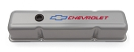 C3 Corvette 1968-1982 Proform Small Block Steel Metallic Gray Valve Covers - Tall - Red Chevrolet & Blue Bowtie