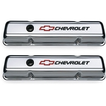 C3 Corvette 1968-1982 Proform Small Block Chrome Valve Covers - Short - Black Chevrolet & Red Bowtie Inlaid