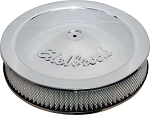 C3 Corvette 1968-1982 Edelbrock Chrome/Black Round Air Cleaners - 10in/14 in Options