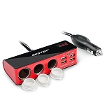 3 Socket Cigarette Lighter Adapter w/ 4 USB Ports