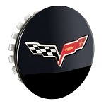 C6 Corvette 2011-2013 GM Gloss Black Center Cap With Crossed Flags