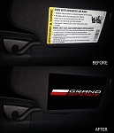 C7 Corvette Grand Sport 2017-2019 Visor Airbag Warning Overlays w/ Grand Sport Logo - Pair