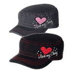 Chevrolet Ladies Military Style Cap w/ I Love My Chevy Script - 2 Color Options