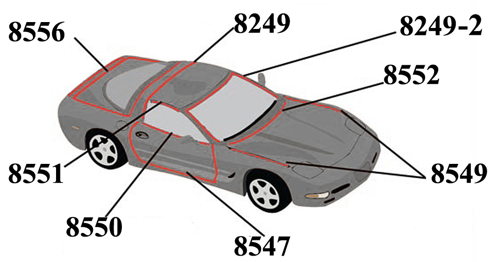 C5 Corvette 1997 2004 Roof And Window Weatherstripping