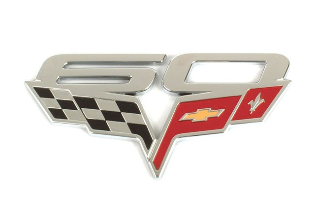 C6 Corvette 2005-2013 60th Anniversary GM Fender Emblem Badges - Pair