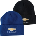 Chevrolet Gold Bowtie Knit Beanie Cap - Black or Royal Blue Color Option