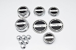 2008-2017 Dodge Challenger Chrome Plated Stainless Steel Deluxe R/T Cap Cover Set w/ Shock Tower Covers & Color Inlay Options - 13pc Set